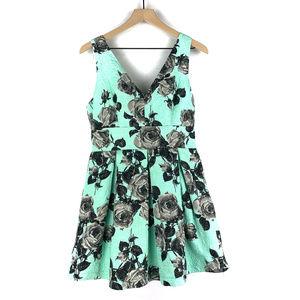 Topshop Green Gray Floral Babydoll Dress Sz 10